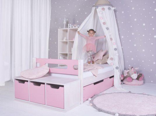 Domino-bubliny-růžová-baldachýn-jednolůžko